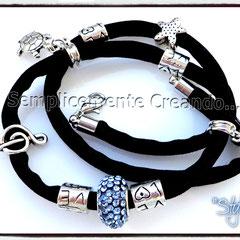 """BR.LY_001 Bracciale """"Pandora Style"""" - """"Stylish"""" in lycra elasticizzata colore nero con chiusura con moschettone (disponibile anche senza)"""