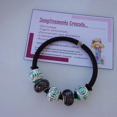 "BR.CA_022 Bracciale ""Pandora Style"" in caucciù"