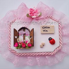 "n. 21 Targhetta ""Casa Mia""  in legno  (cm 10 x 7 x 1)"