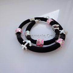 """BR.LY_006 Bracciale """"Pandora Style"""" in lycra elasticizzata colore nero con chiusura con moschettone (disponibile anche senza)"""