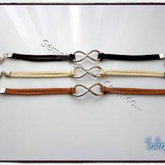 """BR.AL_001_002_003 Bracciali """"Pandora Style"""" - """"Infinity"""" in alcantara nei colori marrone, beige e cammello"""