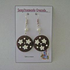 n. 10 orecchini Pan di stelle con perline