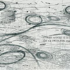 Kristin Finsterbusch, In meinem Kopf des Nachts, Seite 2-3 von 21 Seiten, Tiefdruck, vernis mou, Aquarell, 2007, 15 x 15 cm, Auflage 10