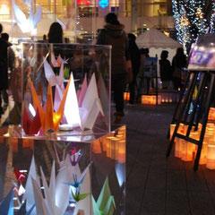 長野市民平和の日のつどい 牛乳パックランタンと折り鶴のオブジェ