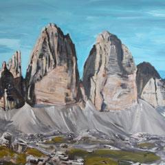 """Drei Zinnen. """"Rockstars der Alpen"""" Südtirol. 2017 (Privatbesitz). Acryl auf Leinwand. 100 x 80 cm"""