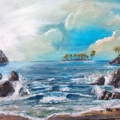 Karibikstrand 2020 (Privatbesitz). Acryl auf Leinwand 100 x 80 cm