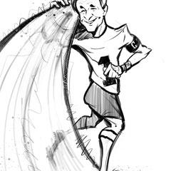 Personalisierte Karikatur nach Fotovorlage von Martin Männel, Torwart vom Erzgebirge Aue