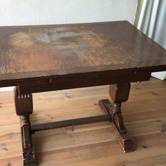 テーブル修理アンティークテーブル塗装修理前
