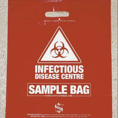Центр инфекционных заболеваний. Пакет для образцов. Нести с предельной осторожностью