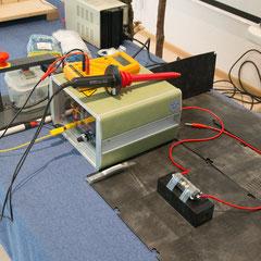 Funkenstrecken-Testaufbau von vorne