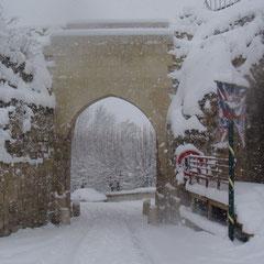 la porte de Soissons sous la neige
