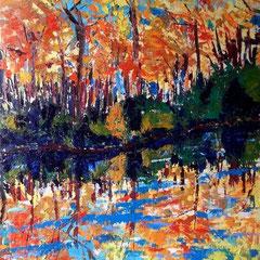2013 - Autunno sull'Adige - olio a spatola su tela - 70x50 cm