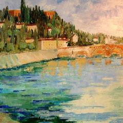 2011 - Verona nell'abbraccio dell'Adige - olio a spatola su tela - 70x50 cm