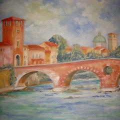 2009 - Dove l'Adige abbraccia Verona - olio su tela - 45x35 cm - collezione privata