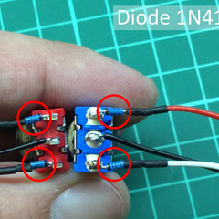Schalter mit angelöteten Dioden/Kabeln