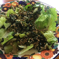 kale stir-fry with minced pork, served on a plate of romaine lettuce : also tasty with a pinch of curry powder in addition to the usual salt & pepper seasoning/ケールと豚ひき肉の炒めもの:定番の塩胡椒の他、カレー粉もあいます。