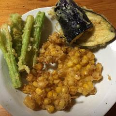 eggplant, sweet corn and celery tempura/なす・とうもろこし・セロリの天ぷら