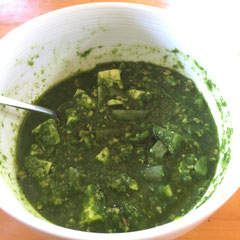 saag paneer-like curry (using diced tofu instead of cheese)/ケールのサグパニール風カレー(チーズの代わりに豆腐を使用)