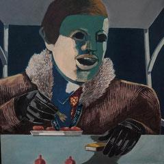 CURRYWURSTESSER I  1972  EITEMPERA  80,5 x 71 cm
