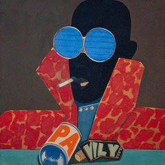 BLACK HEAD A.A.  1970  EITEMPERA 70 x 70 cm