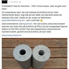 """Beton BLACKROLL """"Die wohl härteste Blackroll der Welt"""" Facebook-Post Gewinnspiel"""
