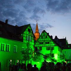 Grüne Nacht in Ansbach.