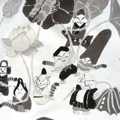 蓮に猫七福神(風呂敷)