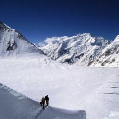 Blickrichtung Lager I, Eisbruch, Gasherbrum II, Gasherbrum 2, Gasherbrum Expedition