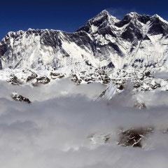 Mera Peak Trekking, Blick Richtung Everest, Lhotse und Nuptse