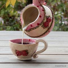 Keramik Fleury Geschirr Rosengeschirr Kanne Tasse Teller