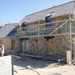 Façade SUD préparation des murs avant le crépis