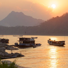 Laos, Luang Prabang: boats on the Mekong river