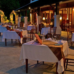 Laos, Luang Prabang, La Residence Phou Vao: the dining terrace