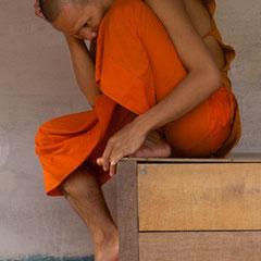 Laos, Luang Prabang: a monk at Wat Si Boun Houang