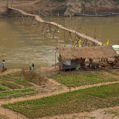 Laos, Luang Prabang: a bridge across the Nam Khan river beside a temporary hut & vegetable garden erected during the dry season