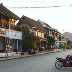 Laos, Luang Prabang: view up Sakkaline Street with Le Banneton French Bakery in centre