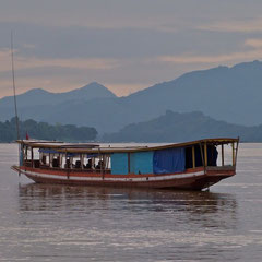 Laos: scenery along the Mekong River, approaching Luang Prabang from upstream