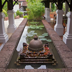 Laos, Luang Prabang, La Residence Phou Vao: an ornamental pool adjacent to dining area