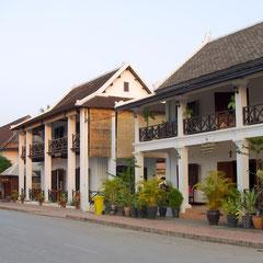 Laos, Luang Prabang: view down Sakkaline Street