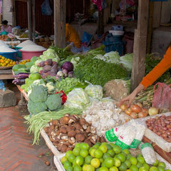 Laos, Luang Prabang: the morning vegetable and meat market near the National Museum