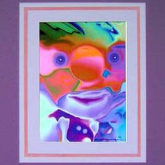 Nr.3/06 Clown   Airbrush auf Spezialpapier  Fin Art  50x40 cm  inkl. Karton - Passepartout  Euro 210,-