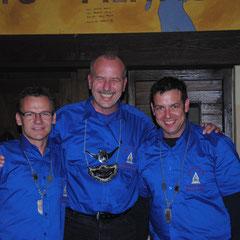 von links: Minister Uwe Schindler, Zugkönig Andreas Kluthausen, Minister Roland Köntges