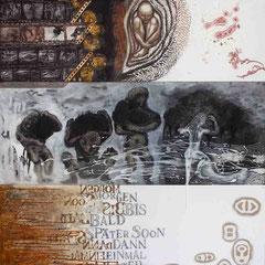 """""""My secret place 2"""" Mischtechnik auf Holzfaser (112x97) 2006"""