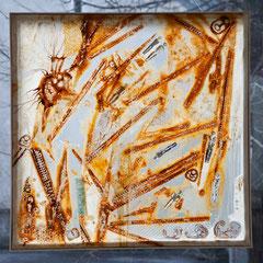 """""""Zeitspuren 1"""" Mischtechnikauf Folie (97x97) 2007"""
