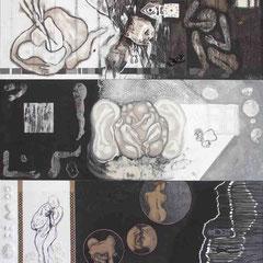 """""""My secret place1"""" Mischtechnik auf Holzfaser (112x97) 2006"""