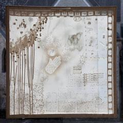 """""""Zeitspuren 3"""" Mischtechnikauf Folie (97x97) 2007"""