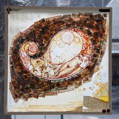 """""""Zeitspuren 2"""" Mischtechnikauf Folie (97x97) 2007"""