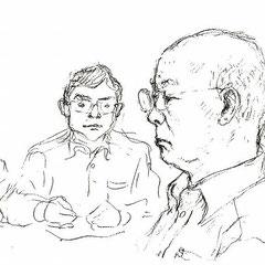法廷で毅然と証言する小山さん(後ろは九電弁護士)