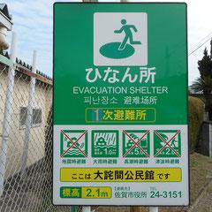 危険区域にある避難所の看板の写真(バッテンが3つ、デカデカと!)