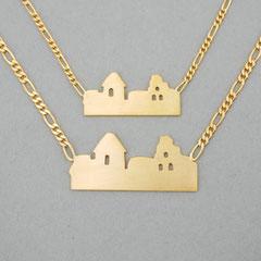 Feingoldplattierte Kette mit Skyline von Neuleiningen, gibt es in groß für Herren und klein für Damen